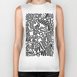 black & white doodle Biker Tank