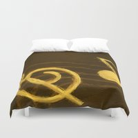 music notes Duvet Covers featuring Golden Umber Music Notes by Tina A Stoffel Arts
