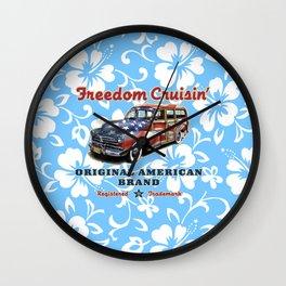 Freedom Crusin' Hawaiian Woody Design - blue colorway Wall Clock