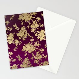 Chic faux gold burgundy ombre watercolor floral Stationery Cards