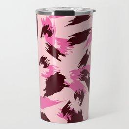 Pink and Brown Jagged Animal Print Travel Mug