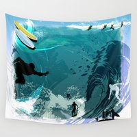 surfing Wall Tapestries featuring Surfing by Robin Curtiss
