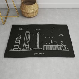 Jakarta Minimal Nightscape / Skyline Drawing Rug