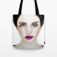 glitch Tote Bags featuring Glitch by Hiba Khan Art