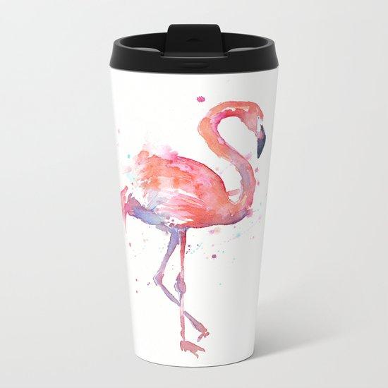 Pink Flamingo Watercolor | Tropical Animals Bird Flamingos Metal Travel Mug