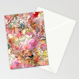 Summer Flowers | Colorful Watercolor Floral Pattern Abstract Sketch Stationery Cards