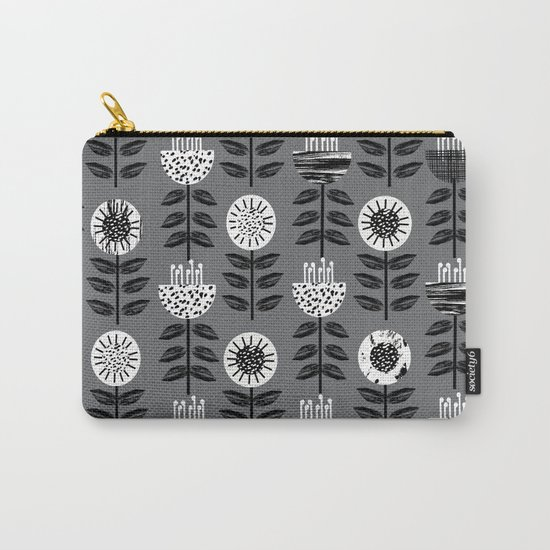 Scandi - modern flower floral pattern scandinavia design retro mid century print monochromatic grey  Carry-All Pouch