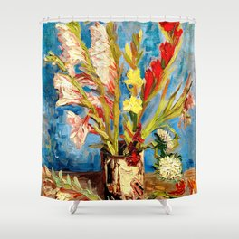 Van Gogh - Vase with Gladioli and China Asters Shower Curtain