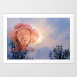 Pink Lady in Snowy Sky Art Print