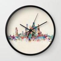singapore Wall Clocks featuring Singapore city skyline by bri.buckley