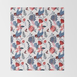 Blue and red flowers Throw Blanket
