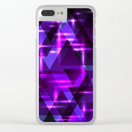 Violet horizontal strict stripes of sparkling blueberry triangles. Clear iPhone Case