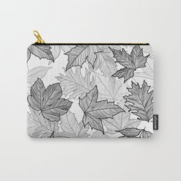 Autumn Leaves Black and White Carry-All Pouch