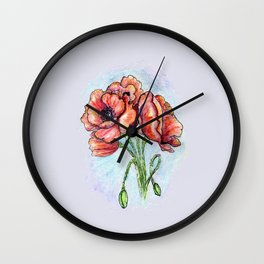 Poppy Flowers Sketch Wall Clock