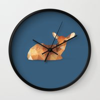 fawn Wall Clocks featuring Fawn. by Diana D'Achille