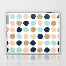 Wren - Pastel Brush Stroke Minimal Dots with glitter  Laptop & iPad Skin