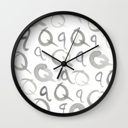 Watercolor Q's - Grey Gray Wall Clock