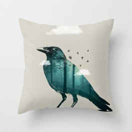 Teal Raven Throw Pillow