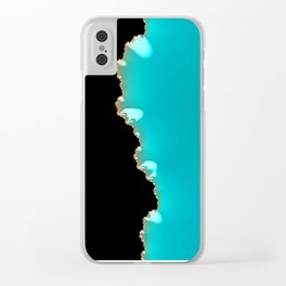 Creeping Teal with a Gold Edge Clear iPhone Case