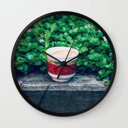 Coffee in the garden Wall Clock