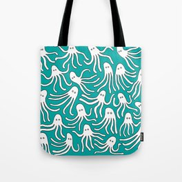 A Party of Handicapped Octopi III - Blue-isch Tote Bag