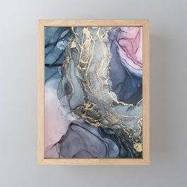Blush, Payne's Gray and Gold Metallic Abstract Framed Mini Art Print