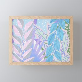 Modern Jungle Plants - Blue, Purple Framed Mini Art Print