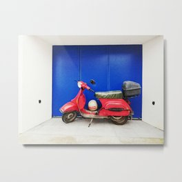 Red Vespa Metal Print