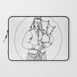 Scottish Bagpiper Doodle Art Laptop Sleeve