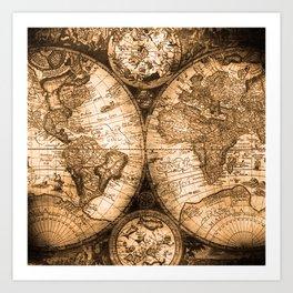 World Map Antique Vintage Maps Art Print