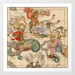 Star Atlas Vintage Constellation Map Ignace Gaston Pardies Kunstdrucke