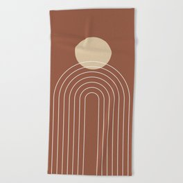 Mid Century Modern Geometric 3 (Terrocatta and beige) Beach Towel
