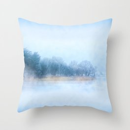 Foggy Winter Evening On The Corrib In Galway Ireland Throw Pillow