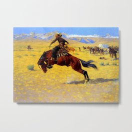 "Frederic Remington Western Art ""A Cold Morning"" Metal Print"