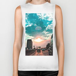 urban road with beautiful cloudy summer sunset sky Biker Tank