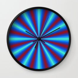 Red and Blue Pleats Wall Clock