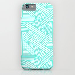 Sketchy Abstract (Turquoise & White Pattern) iPhone Case