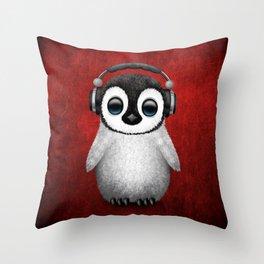 Cute Baby Penguin Dj Wearing Headphones on Red Throw Pillow