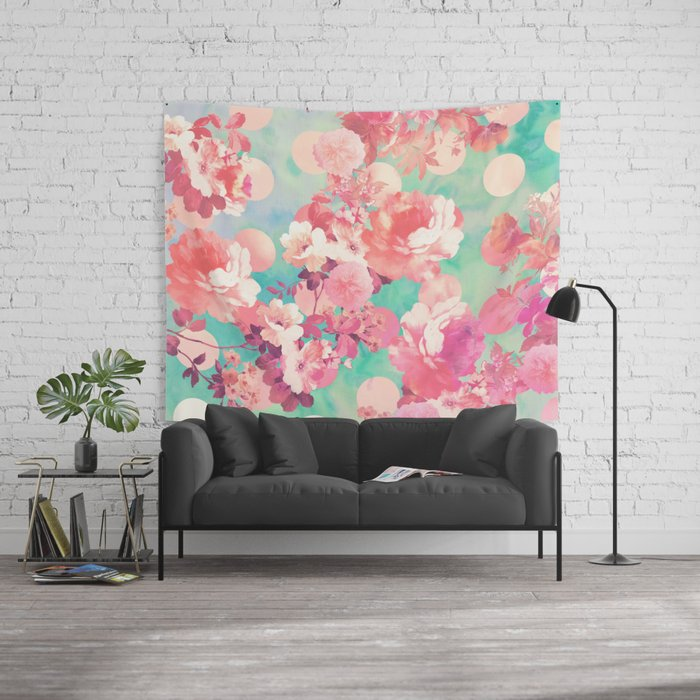 Romantic Pink Retro Floral Pattern Teal Polka Dots Wall Tapestry by ...