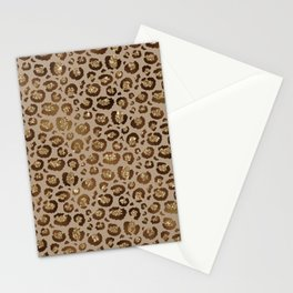 Brown Glitter Leopard Print Pattern Stationery Cards