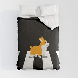 Dog Corgi walk over Crosswalk Comforters