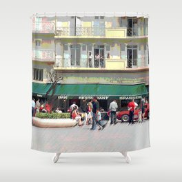 Activity in the Town Square Shower Curtain