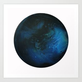 Blue Planet on White Background Art Print