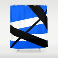 bands Shower Curtains featuring Bands 1 Retro stripes by Brian Raggatt