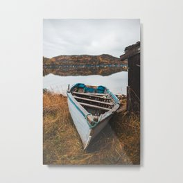 Boat on the beach in coffee cove, NL Metal Print