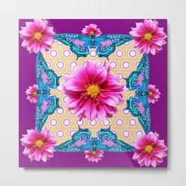 BLUE BUTTERFLIES FUCHSIA DAHLIA FLOWERS ABSTRACT Metal Print