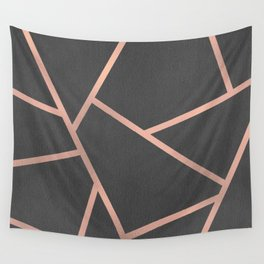 Dark Grey and Rose Gold Textured Fragments - Geometric Design Wall Tapestry
