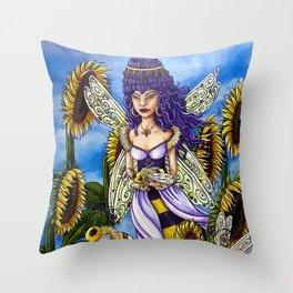 Queen Bee by DeeDee Draz Throw Pillow