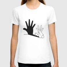 Rabbit Hand Shadow White Womens Fitted Tee MEDIUM