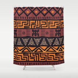 Tribal ethnic geometric pattern 021 Shower Curtain